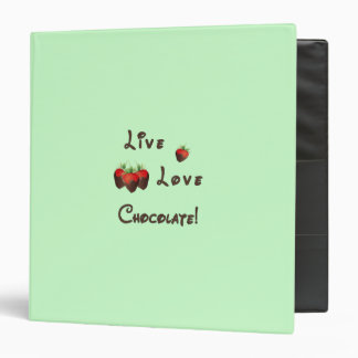 Live Love Chocolate 3 Ring Binders