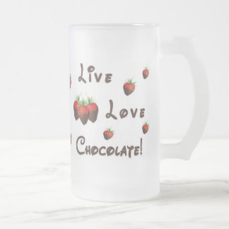 Live Love Chocolate Frosted Glass Beer Mug