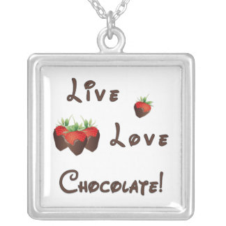 Live Love Chocolate Silver Plated Necklace