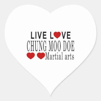 LIVE LOVE CHUNG MOO DOE MARTIAL ARTS HEART STICKER
