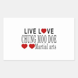 LIVE LOVE CHUNG MOO DOE MARTIAL ARTS RECTANGULAR STICKER