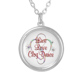 Live Love Clog Dance Silver Plated Necklace
