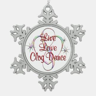 Live Love Clog Dance Snowflake Pewter Christmas Ornament