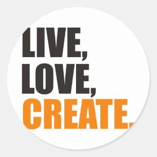 live love create classic round sticker