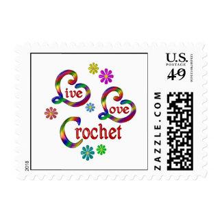 Live Love Crochet Postage Stamp