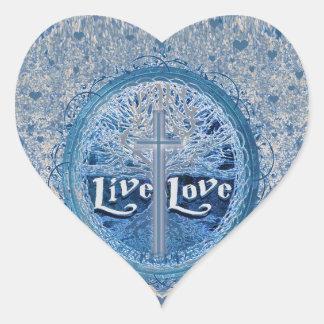 Live Love Cross Blue Tree of Life Pattern Heart Sticker
