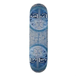 Live Love Cross Blue Tree of Life Pattern Skateboard