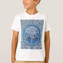 Live Love Cross Blue Tree of Life Pattern T-Shirt