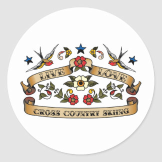 Live Love Cross Country Skiing Classic Round Sticker