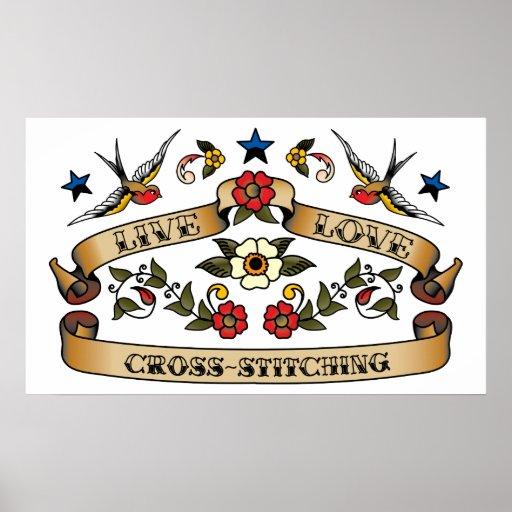 Live Love Cross-stitching Print