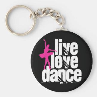 Live, Love, Dance Ballerina Basic Round Button Keychain