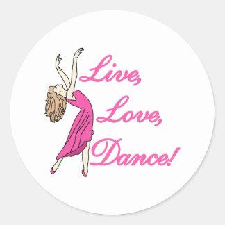 Live Love Dance Classic Round Sticker