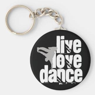Live, Love, Dance Basic Round Button Keychain
