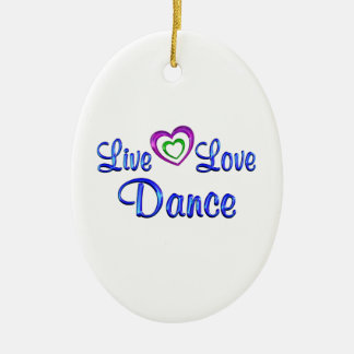 Live Love Dance Double-Sided Oval Ceramic Christmas Ornament