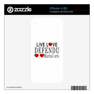 LIVE LOVE DEFENDU MARTIAL ARTS iPhone 4 DECALS