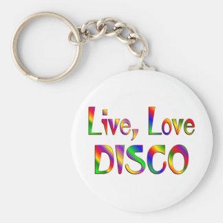Live Love Disco Keychains
