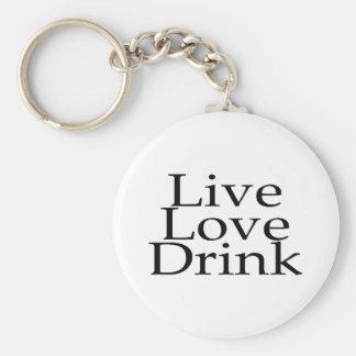 Live Love Drink Basic Round Button Keychain