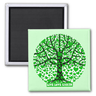 live love earth 2 inch square magnet