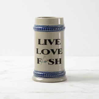 Live Love Fish Beer Stein