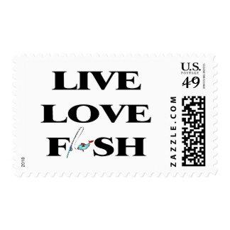 Live Love Fish Postage Stamp