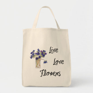Live Love Flowers Tote Bags