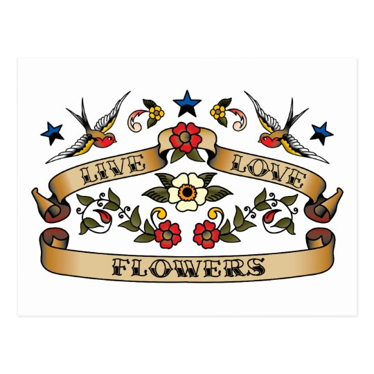 Live Love Flowers Postcard