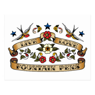 Live Love Fountain Pens Postcard