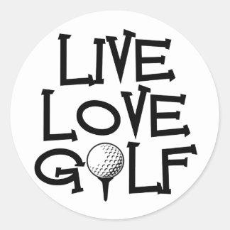 Live, Love, Golf Classic Round Sticker