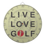 Live Love Golf Golfing Red Black Dartboard With Darts