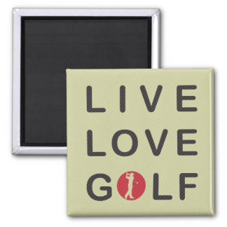 Live Love Golf Golfing Red Black 2 Inch Square Magnet