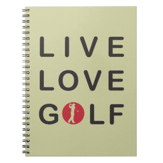 Live Love Golf Golfing Red Black Notebook