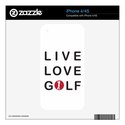 Live Love Golf Golfing Red Black Skins For iPhone 4S