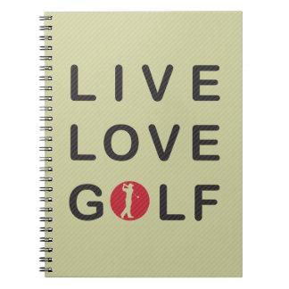 Live Love Golf Golfing Red Black Spiral Notebook