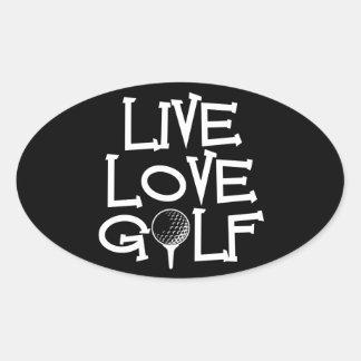 Live, Love, Golf Oval Sticker