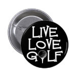 Live, Love, Golf Pinback Buttons