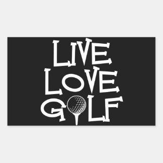 Live, Love, Golf Rectangular Sticker