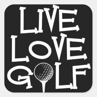 Live, Love, Golf Square Sticker