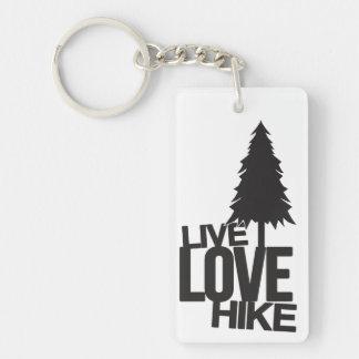 Live Love Hike   Hiking Single-Sided Rectangular Acrylic Keychain