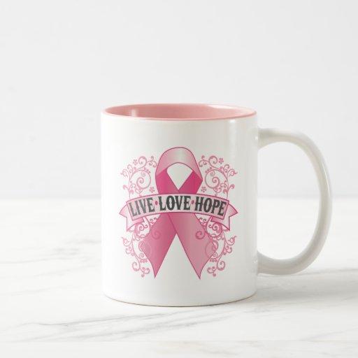 Live Love Hope Pink Ribbon Two-Tone Coffee Mug