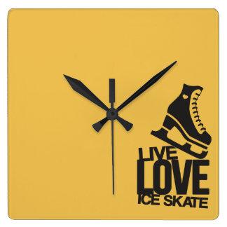 Live Love Ice Skate   Figure skating Square Wall Clock