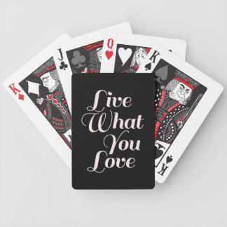 Live Love Inspirational Quote Gift Black Bicycle Playing Cards