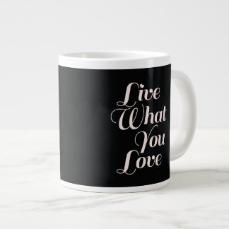 Live Love Inspirational Quote Gift Black Giant Coffee Mug