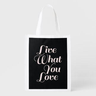 Live Love Inspirational Quote Gift Black Market Totes