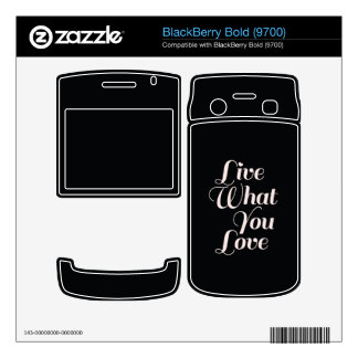 Live Love Inspirational Quote Gifts Black Skins For BlackBerry