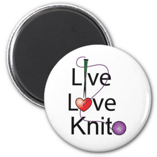 Live Love Knit 2 Inch Round Magnet