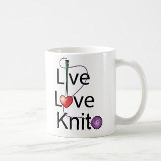 Live Love Knit Classic White Coffee Mug