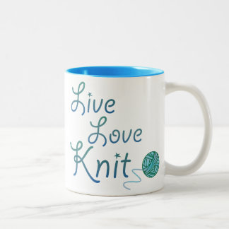 Live Love Knit for Knitters (darker version) Two-Tone Coffee Mug