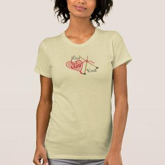 live love knit heart yarn knitting needles T-Shirt