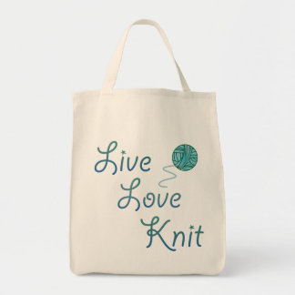 Live Love Knit Knitting Project Bag for Knitters