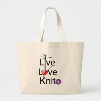 Live Love Knit Large Tote Bag